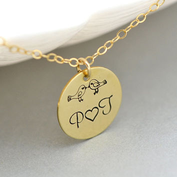 BABY BIRD NECKLACE, Love Necklace, Initial Disc Necklace, Bird Family Necklace, 14k Gold Fill or Sterling Silver Disc Necklace