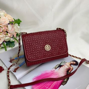 Kuyou Gb99822 Tory Burch Leather Chain Strap Red Flap Cover Bag 19.5x13.5x7.5cm