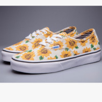 """Vans"" Casual Shoes yellow sunflower low tops Shoes"