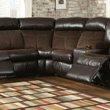 2 pc Berneen collection two tone coffee colored fabric and vinyl upholstered sectional sofa set with recliners on the ends