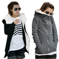 Women Outwear Parka Top  Fleece Long Sleeve Coat Hooded Hoodie Jacket Sweatshirts