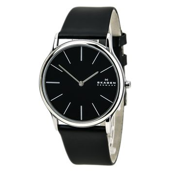 Skagen 858XLSLB Men's Denmark Black Dial Quartz Leather Strap Watch