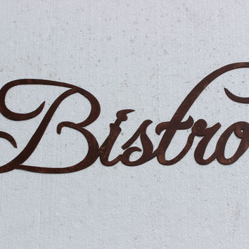 Bistro Word Kitchen Decor Metal Wall Art