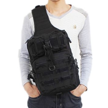 Men's Waterproof 600D Nylon Sling Chest Bag  High Capacity Military Travel Cross Body Messenger Shoulder Back pack
