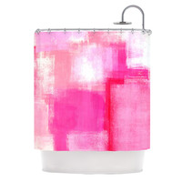 "CarolLynn Tice ""Running Late"" Pink White Shower Curtain"