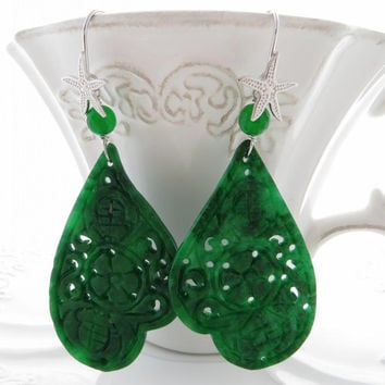 Green carved jade earrings, drop gemstone earrings, burma jade jewelry, sterling silver 925, dangle teardrop,  Sofia's Bijoux Made in Italy