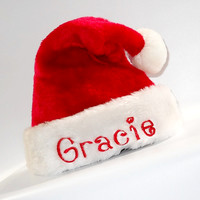 Monogrammed Plush Santa Hat Sizes Preemie-Adult Personalization Free