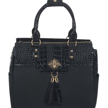 """THE MILANO"" Black & Alligator Rolling Laptop Carryall Trolley Bag"