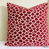 Red Leopard Cheetah Print Pillow Cover - 20x20 Pillow Cover