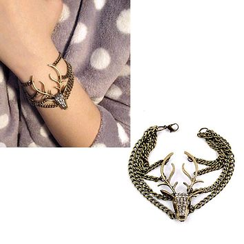 Women Retro Diamond Mysterious Deer Head Multilayer Bracelet Jewelry