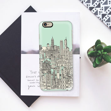 Hong Kong toile de jouy mint iPhone 6s case by Sharon Turner | Casetify