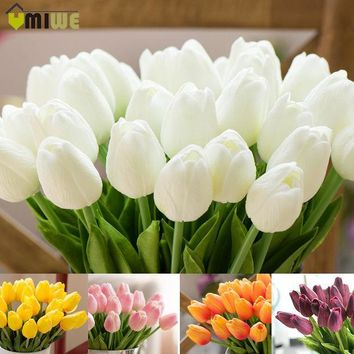 CREYONHS Umiwe 10/30pcs PU Fake Artificial Silk Tulips Flores Artificiales Bouquets Party Artificial Flowers For Home Wedding Decoration