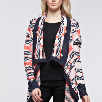 Emily Aztec Navy Coral Cardigan Sweater Jacket