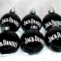 Jack Daniels Alcohol 6PC Glass Ornament Set