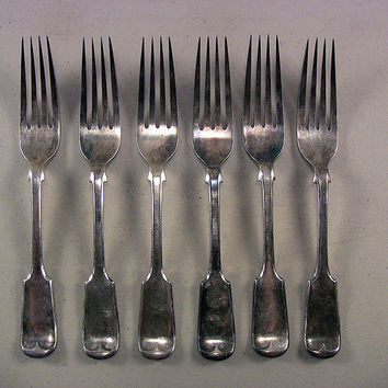SOLD!  6 19th C Antique Coin or Plate Silver Forks Nowill D * B Fiddle 306g
