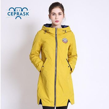 2017 Thin Women Quilted Parkas Long Women Cotton Padded Jacket Spring Windproof Womens Spring Jackets Coats New Design CEPRASK