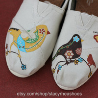 Vintage Birds with flowers - TOMS