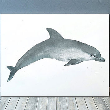 Nursery art Cute dolphin watercolor print Nautical decor ACW177