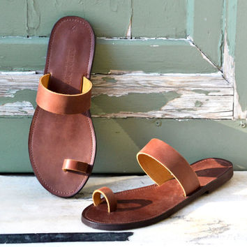 HELLENIC RING , Sandals, Leather sandals, Leather toe ring women sandals, Handmade Greek sandals