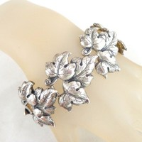 Rare Vintage STERLING CRAFT BY CORO Neoclassic Leaves Bracelet