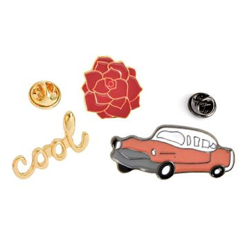 2017 new arrival Fashion Flower Car Cool Metal Brooch Pins Button Pins Jeans Bag Decoration Gift Wholesale