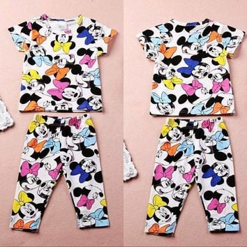 2017 Summer Baby Girl Kids clothing Lovely Minnie Mouse clothes 2pcs T-shirt & Pants suits children's clothing set