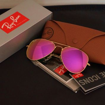 New Ray Ban Aviator RB3025 112/4T Matte Gold frame/Cyclamen Pink mirror Lens