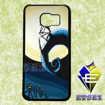 The Nightmare Before Christmas and night a beautifull full moon case For Samsung Galaxy S3/S4/S5/S6 Regular/S6 Edge and Samsung Note 3/Note 4 case