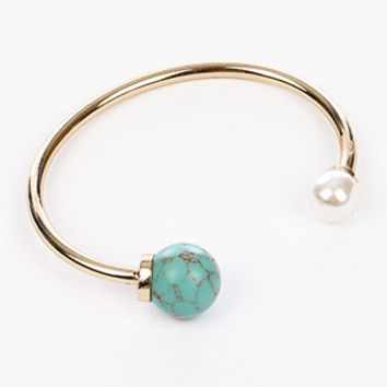 Gold Double Pearl Cuff Bracelet (Turquoise)