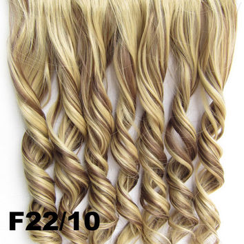Clip in synthetic hair extension hairpieces 5 clips in on wavy slice hairpiece GS-888 F22/10,60cm,130grams,16 colors available 1pcs