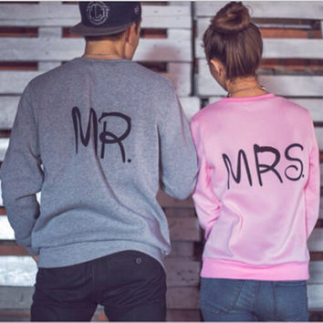 Hot Sale Couple Print Plus Size Long Sleeve Hoodies [9307407684]