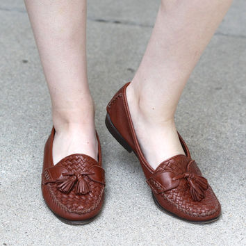 Vintage 90s Southwestern // Cole Haan Loafers // Woven Leather // Cognac Brown // Women's US Size 9
