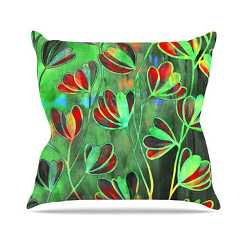 "Ebi Emporium ""Efflorescence - Red Green"" Lime Crimson Outdoor Throw Pillow"