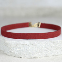 Love Connection Wine Red Suede Choker