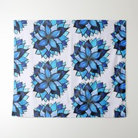 Beautiful Abstract Hand Drawn Blue Flower Pattern Tapestry