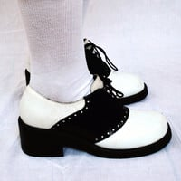 Vintage 80s ZODIAC Curve Leather High Heels Oxford Mary Jane Baby Doll Shoes Sz 8