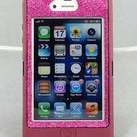 Cute Sparkly Bling Glitter iPhone 4/4S Custom Case Otterbox Defender Series for Apple iPhone 4/4S Plum/Raspberry