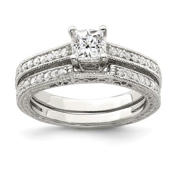 925 Sterling Silver 2-Piece Cubic Zirconia Wedding Set Ring