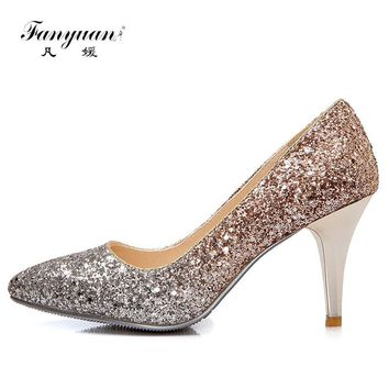 Fanyuan 2018 High Heels Women Pumps Luxury Glitter High Heel Lady Shoes Woman Pointed Toe Sexy Wedding Party Shoes