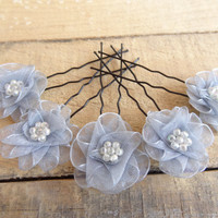 Grey Flower Wedding Hair Pins, Ivory Bridal Hair Pins, Hair Accessories, Organza Hair Pins, Bridesmaid Hair, Woodland - Set of 5