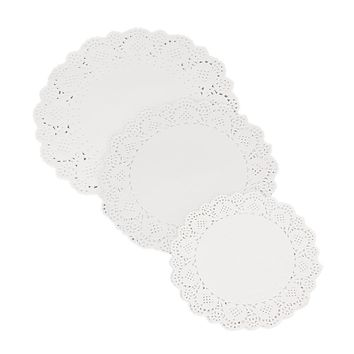 "36Pcs 6.5""/8.5""/10.5"" Mixed Sizes Round Lace Flower Paper Doilies Placemat for DIY Scrapbooking Paper Crafts/Wedding Decoration"