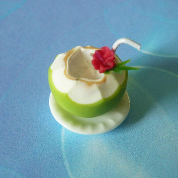 Miniature coconut water fake fruit -mini coconut flower straw on white plate -dollhouse miniatures -1 12 scale