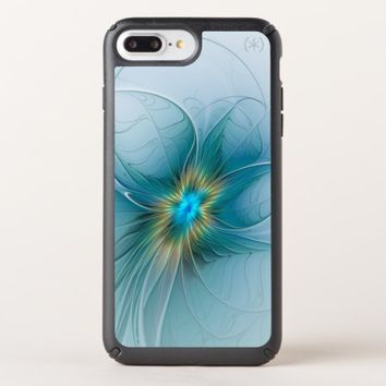 The little Beauty Modern Blue Gold Fractal Flower Speck iPhone Case