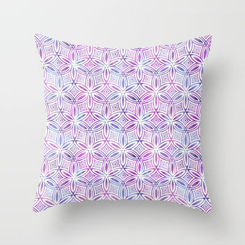 Floral Elegant Tribal Pattern (Pink Maroon Gray Green) Throw Pillow by AEJ Design