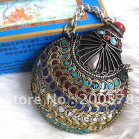 HDC0794  Nepal Fork handicraft,Tibetan large snuff bottle,90*75mm,Tibet big pendants,brass inlaid colorful stone clips