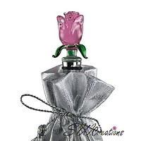 Pink Rose Glass Wine Bottle Stopper