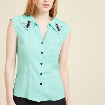 Mid-Century Mew-dern Button-Up Top