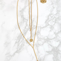 Minc Collections - Duo Drop Necklace - Gold
