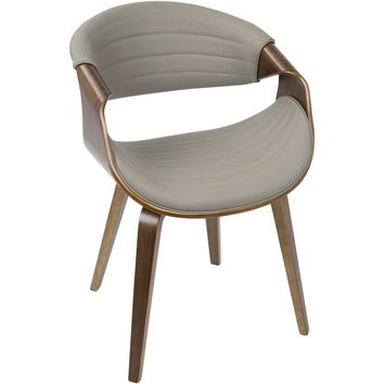 Symphony Mid-Century Modern Dining / Accent Chair, Walnut Wood & Grey PU