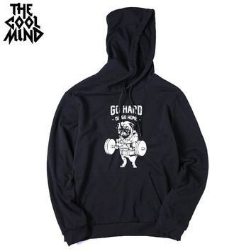 Cotton blend pug printed men sweatshirts casual fleece male knitted black men hoodies